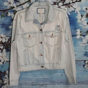 Forever 21 Classic Denim Ripped Jacket  |  Size S
